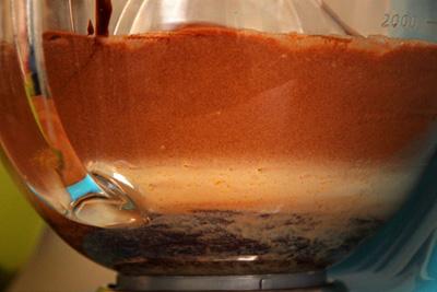 Brownie Teig in Glasschüssel